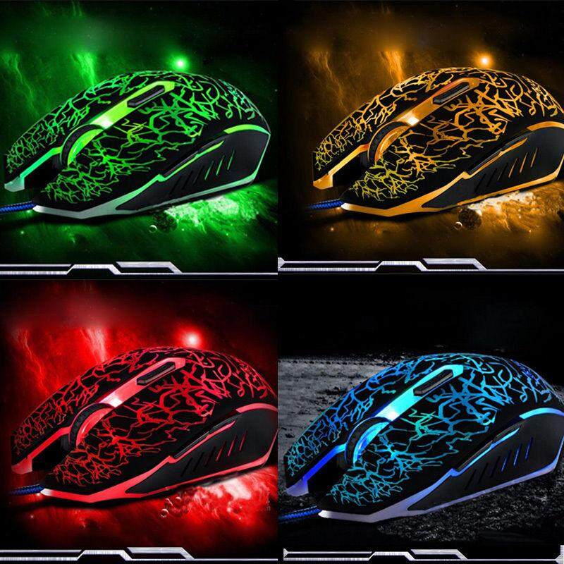 Techtopest-Wired Gaming Mouse Silent Mute USB Optical Gaming Mouse Office Mice with Backlit Malaysia