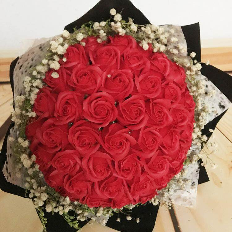 52 Roses Korean Creative Bouquet Handmade Soap Flowers Valentines Day Gift Birthday Gift 4 Colors Home Party Wedding Decoration Mariage Fake Flower