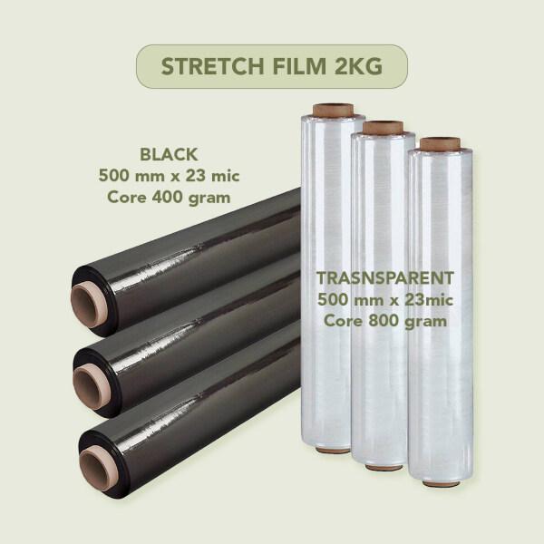 Stretch Film Transparent (2.1 kg), Black (2kg) /Wrapping Firm/Plastic Pallet Wrap (500mm x 2Kg x 23Mic) - 1 roll