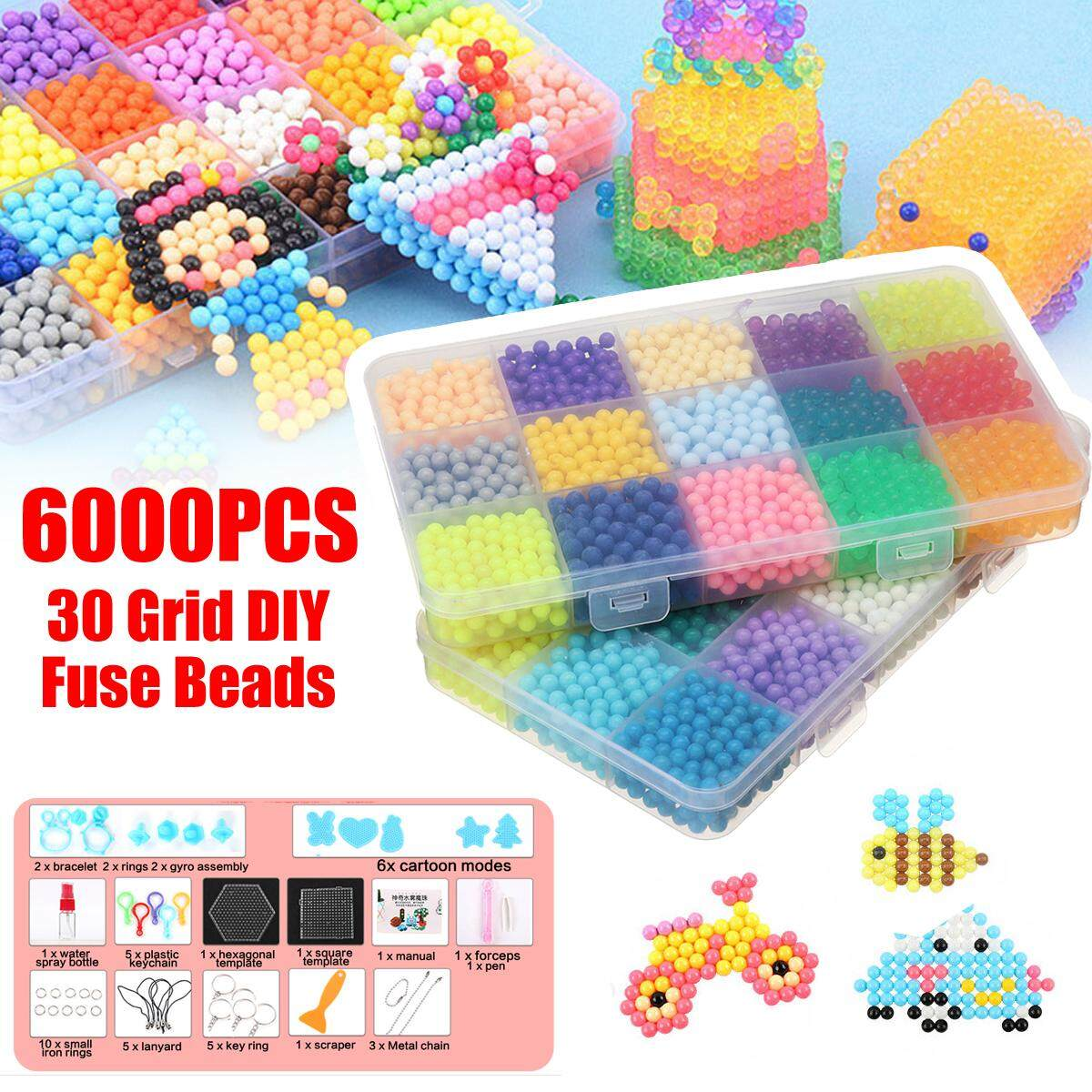 6000pcs Aqua Refill Water Bead Diy Sticky Fuse Beads Puzzle Art Craft Toys By Glimmer.
