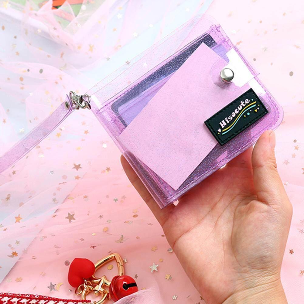 Fashion Girl Bling Transparent Card Holder Folding Short Money Wallet Card Purse