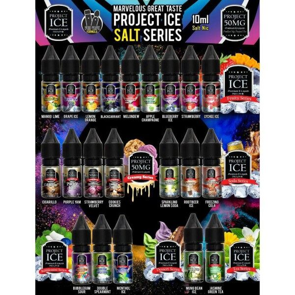 [READY STOCK] Project Ais Salt 10ML Mango Lime / Melondew / Spearmint / Bull / Cookie Crunch / Lychee / Strawberry  Ice Sejuk Cold Cool Freezy Vape Juice Cheap Murah Malaysia