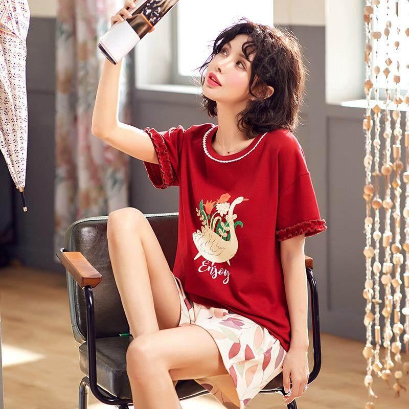 Women Sleepwear Pajamas Set Summer Short Sleeve Cotton Young Girls Nightshirt Nightclothes Home Clothes