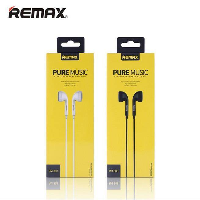 Remax Portable RM 303 CLASSIC AUDIO PURE MUSIC Earphone 3.5mm In-Ear Bass Wire headsets with Mic for mobile phones