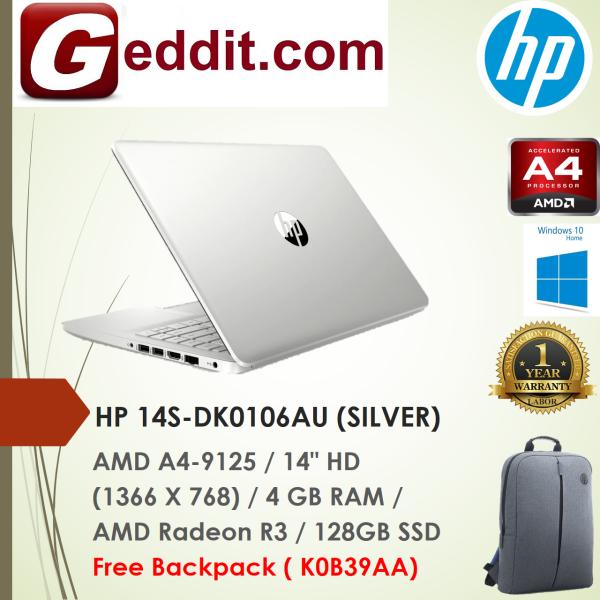 HP 14S-DK0106AU LAPTOP (A4-9125,4GB,128GB SSD,RADEON R3 GRAPHICS,14 HD,WIN10) FREE BACKPACK Malaysia