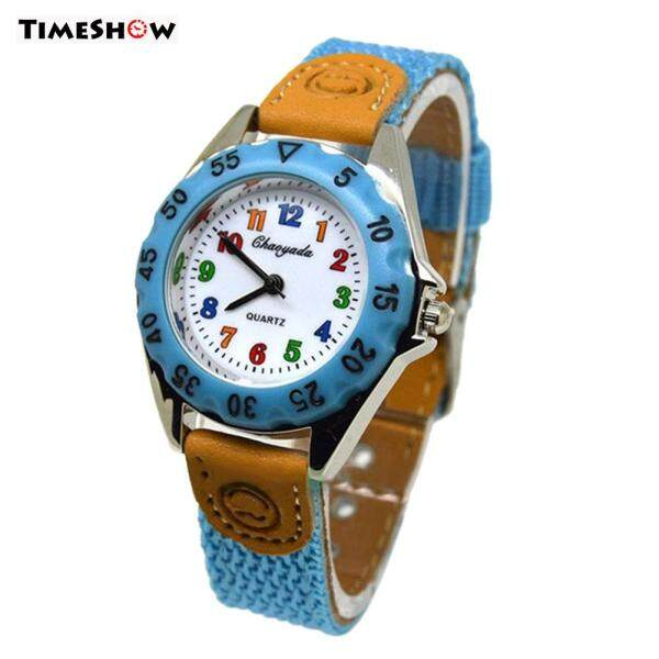 TimeShow Cute Boys Girls Quartz Watch Kids Childrens Fabric Strap Student Time Clock Wristwatch Gifts Malaysia