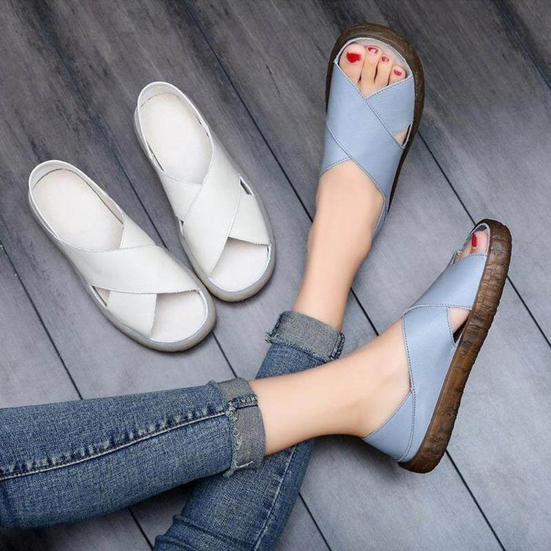 558a146abeaa4 2019 women s summer casual PU leather flat casual sandals soft non-slip  shoes