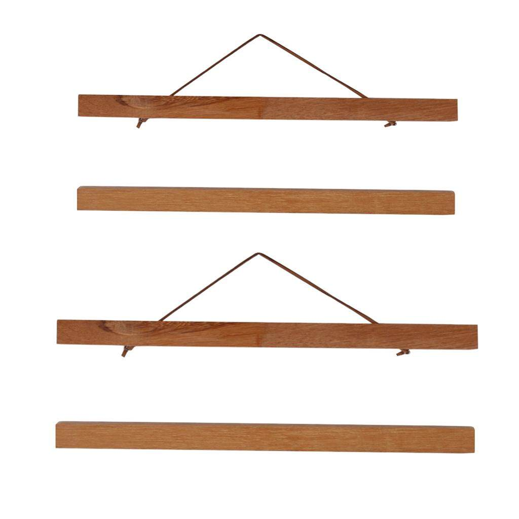 Perfk 2 Pairs Magnet Wooden Picture Frame DIY Photo Poster Painting Hanger 40+50cm