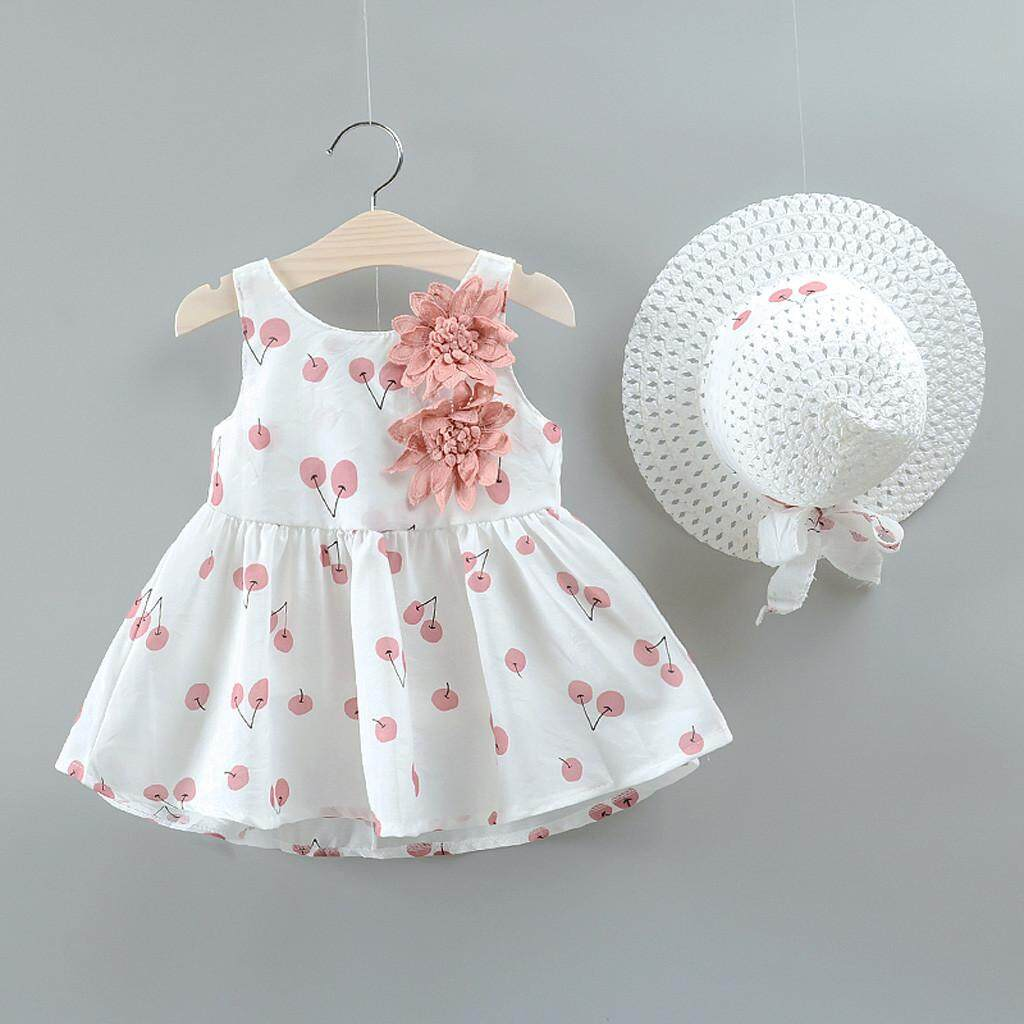 7d057a6a5e3e Babysmikee Toddler Kid Baby Girl Cherry Printed Princess Dress+Hat Outfits  Set Clothes