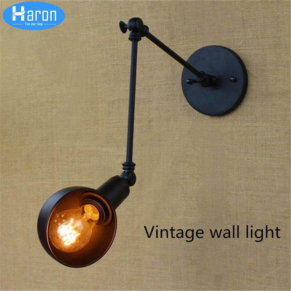 Vintage Industry Loft E27 Wall Light Wall Lamp Clear Glass Lampshade Free Adjust Long Swing Arms For Living Room Restaurant Bar The Latest Fashion Lights & Lighting