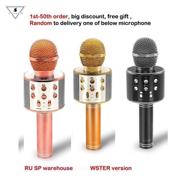 Loa Micro Không Dây Bluetooth Phiên Bản WSTER Chính Hãng 100% WS-858 Máy Ghi Âm Karaoke Cầm Tay, KTV Mic Cho Andriod IOS
