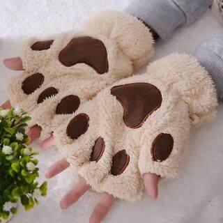 Găng tay hở ngón hình bàn chân mèo dễ thương, chất liệu vải nhung lông mềm mại giúp giữ ấm mùa đông khi đi đi xe máy, đi ngoài trời thumbnail