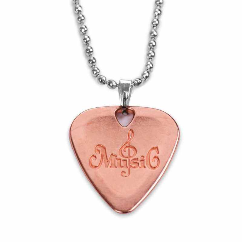 Metal Guitar Pick Necklace Zinc Alloy 1.2mm Thickness with Ball Chain (Rose Gold) Malaysia
