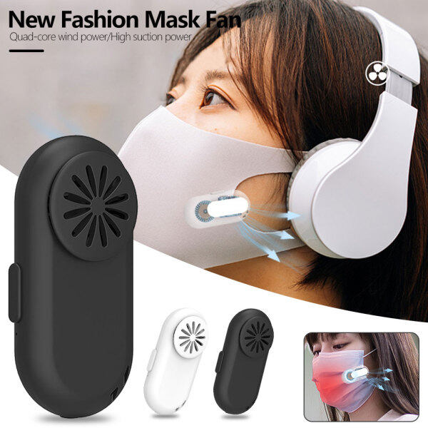 wishlist USB Rechargeable Portable Fan For mouth Mask Clip-On Air Filter Smart Mask Air Purifying Electric Valve Filter Facial Fans