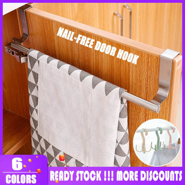 【In Stock】Home Overhead Door Cupboard Shelf Rack Organizer Hanging Holder Stainless Steel Bathroom Kitchen Cupboard Shelf Rack Towel Racks Tilt Door Towel Rack Hanger