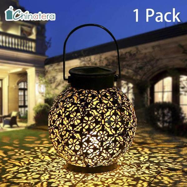 [Chinatera] Đèn LED Năng Lượng Mặt Trời, Đèn Lồng Rỗng Kim Loại Cổ Điển Đèn Treo Trang Trí Sân Vườn Nhà Ngoài Trời