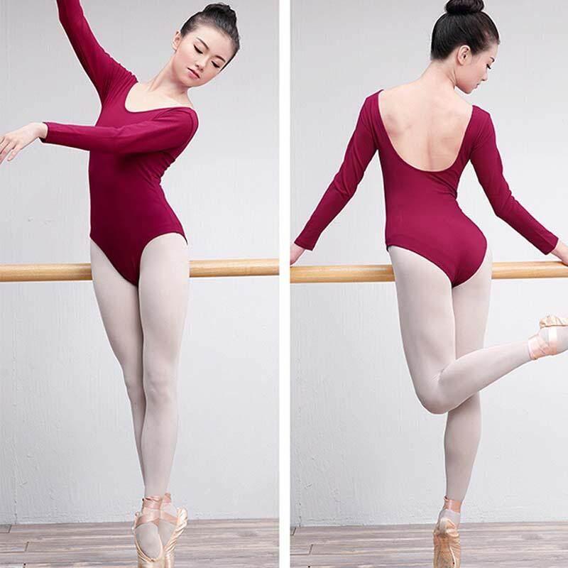 Adults Short/long Sleeve Dance Leotards For Women Spandex Scoop Neckline Ballet Gymnastics Bodysuit Team Basic Dancewear Padded By Mile International Store.