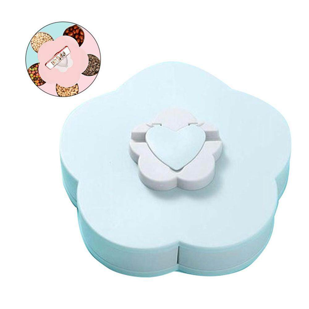 efuture Creative rotating storage box, 5 grids of dried fruit candy storage tray flower shape snack box with mobile phone holder