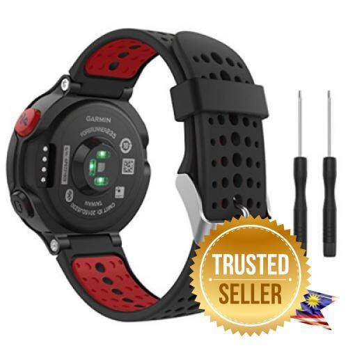Soft Silicone Replacement Watch Band for Garmin Forerunner 235 / 220 / 230 / 620 / 630 / 735 Smart Watch (BLACK AND RED) Malaysia