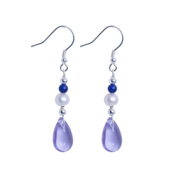 Wond S925 Bạc Ngọc Trai Tự Nhiên Mặt Đá Lapis Lazuli Bông Tai Nữ