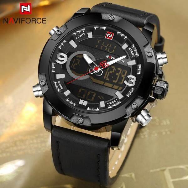 NAVIFORCE Top Brand Luxury Mens Watches Fashion Quartz Men LED Digital Analog Watch For Men Leather Waterproof Military Sport Wrist Watch 9097 Malaysia