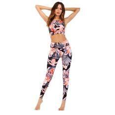 Highfly365 2 cái/bộ Nữ In Hoa Không Tay Tập Yoga Cao Cấp quần Legging Thể Thao Áo Vest