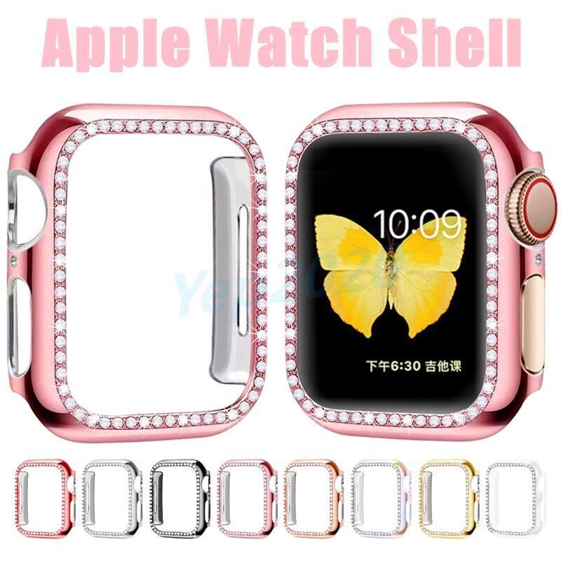 [YP] Ốp Lưng Kim Cương Cho Apple Watch Bảo Vệ Màn Hình, Vỏ Chống Sốc Bảo Hiểm Toàn Diện, Vỏ I-watch, kính Cường Lực Tổng Thể Mỏng Cho Đồng Hồ Nữ, Phụ Kiện Đồng Hồ 5 4 3 2 1 38MM 42MM40mm 44Mm