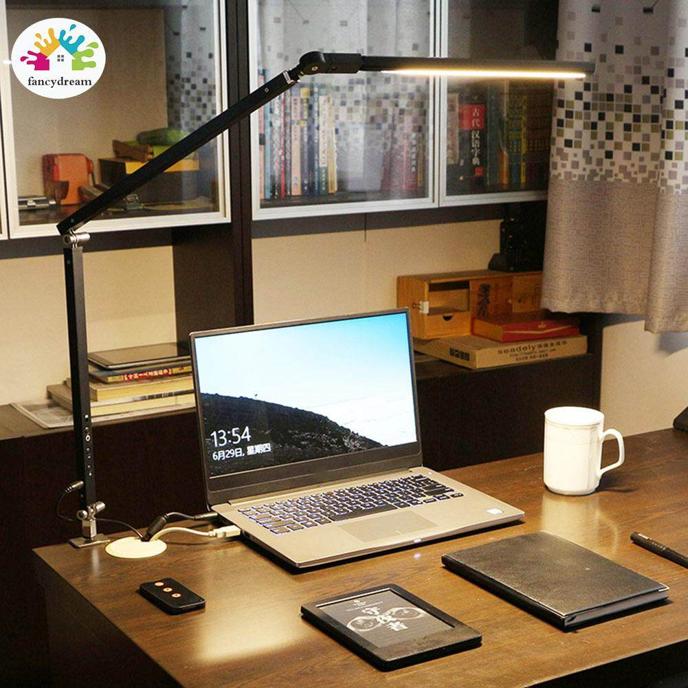 fancydream Swing Arm LED Desk Lamp with Clamp Dimmable Table Light for Study Reading Work Office