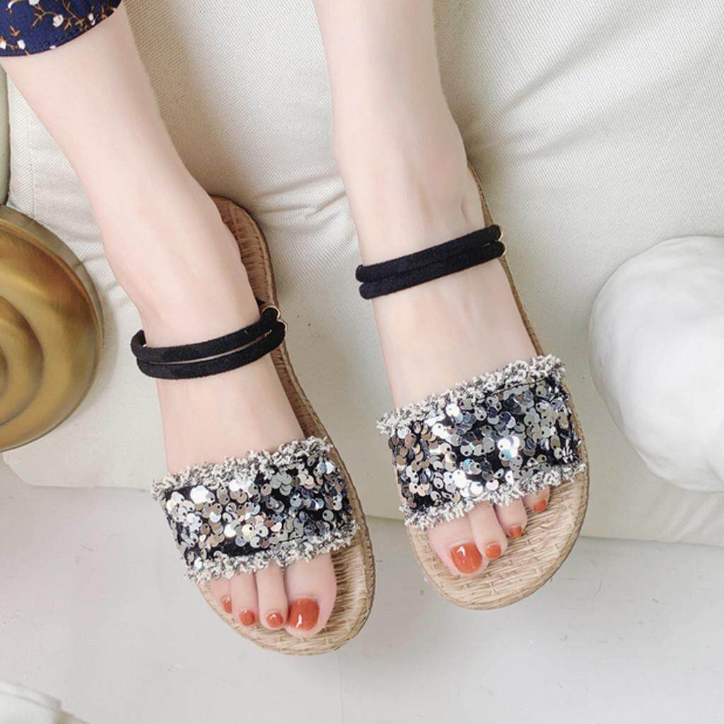 INS Korean Style Sandals For Women Flat With Sequins Straps Open Toe Sandals Fashion Hollow Elastic Slippers Plus Size Summer Casual Female New Style Sandals