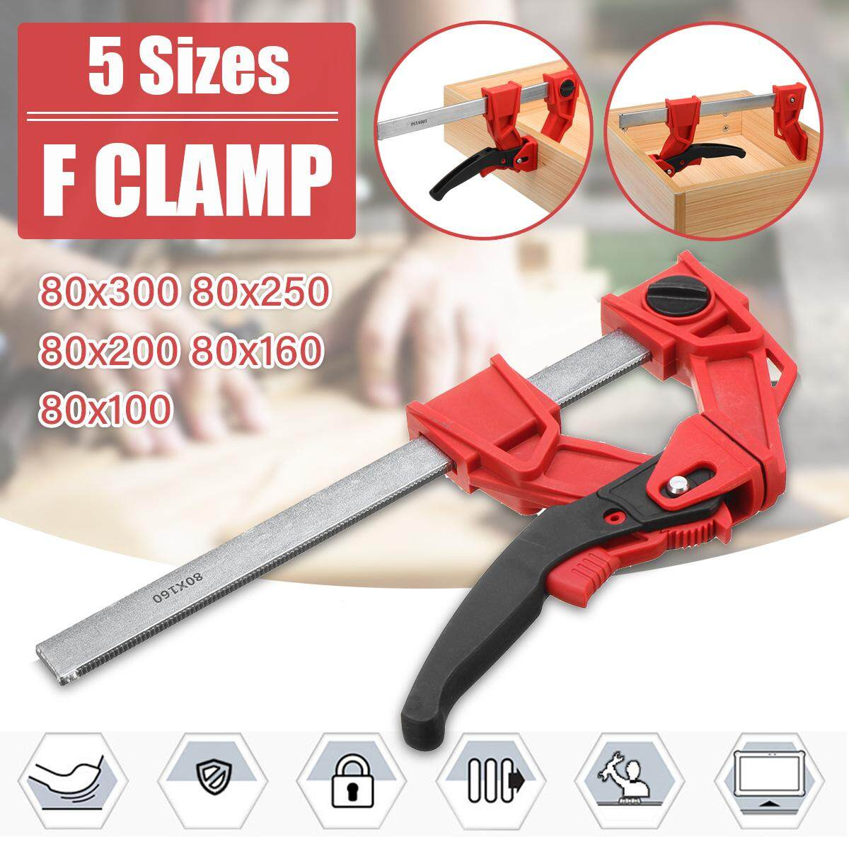 Woodworking Clamp Quick Release Wood Working Bar F Clamp Grip Ratchet Squeeze DIY Hand Carpentry Gadgets 【80-250mm Parallel F Clamp】
