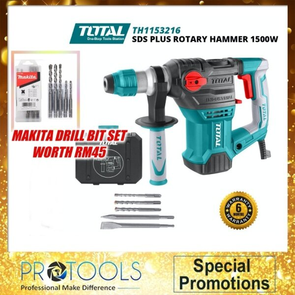 TOTAL Rotary Hammer 1500W TH1153216 Industrial with makita drill bit