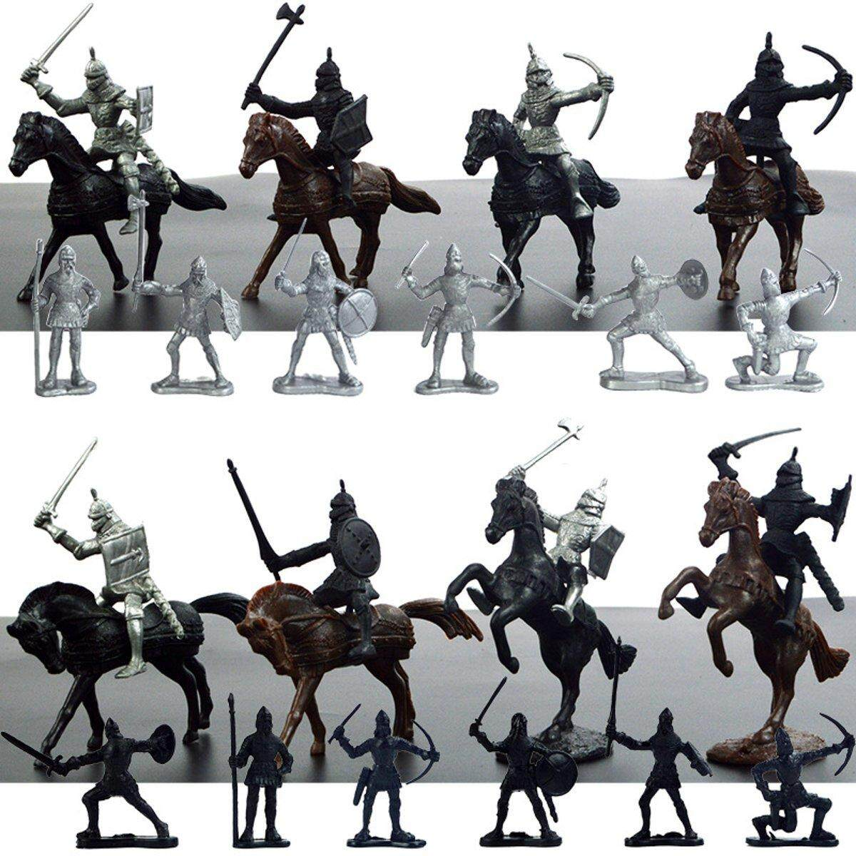 28pcs Medieval Knights Warriors Horses Soldiers Figures Model Playset Kids Toy By Glimmer.
