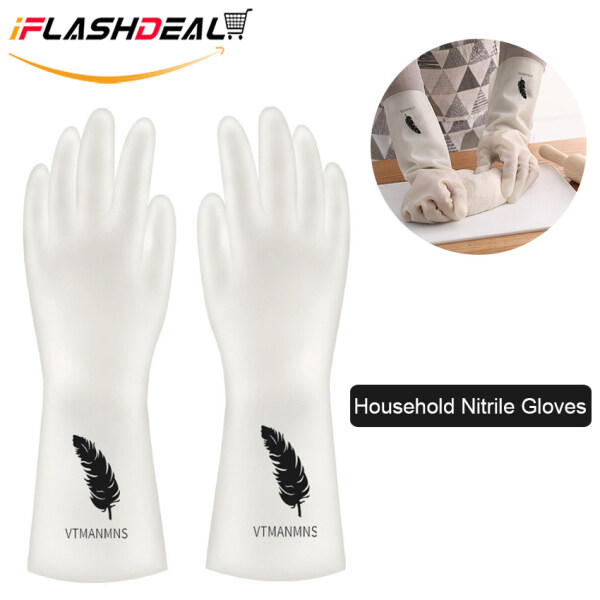 【High Quality】iFlashDeal Household Gloves Rubber Dish-washing Gloves Reusable Household Cleaning Gloves For Cooking Non-Slip Nitrile Gloves Puncture Resistant Thicken Gloves for Kitchen Cleaning, Working, Painting, Gardening