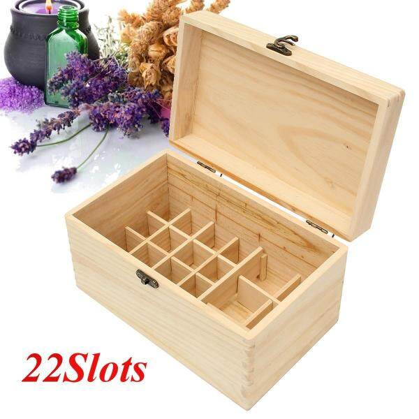 22 Slots Essential Oil Wooden Storage Box Carrying Case Container Organizer