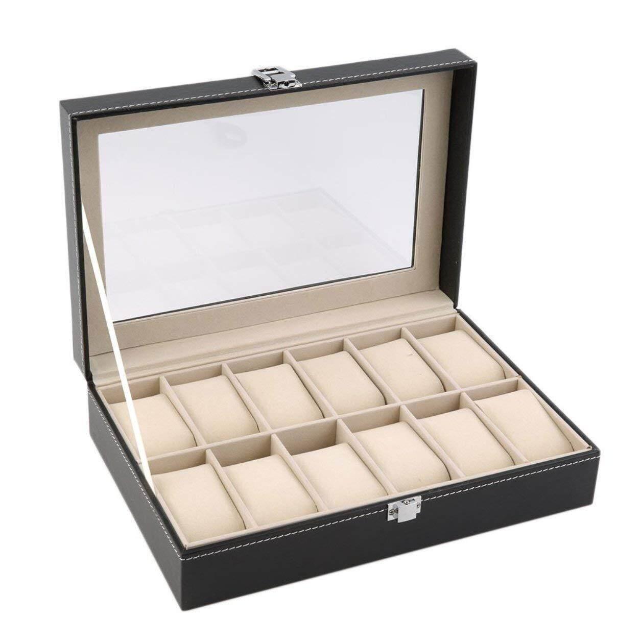 [Ready Stock] Premium PU Leather Watch Display Storage BoxCase - 12 Slots Malaysia