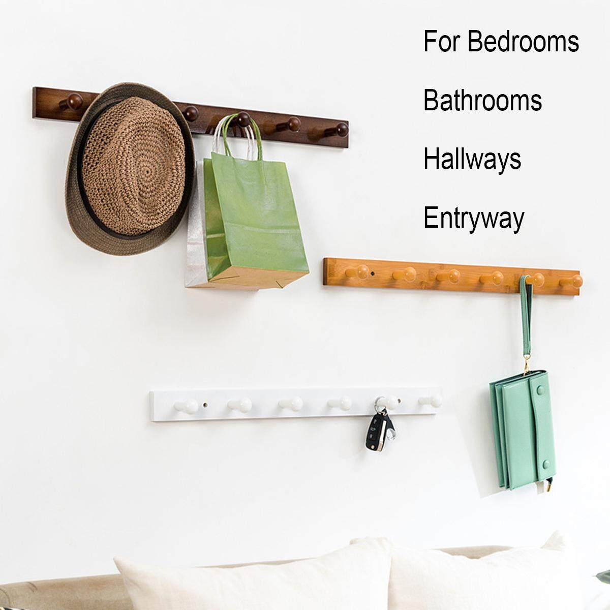 Mu Ma Ren Wall Mounted Coat Rack/Rail Bamboo Wood Hook for Coat Clothes Hats Key Towels Hanger (3 Colors) Renting/Decoration