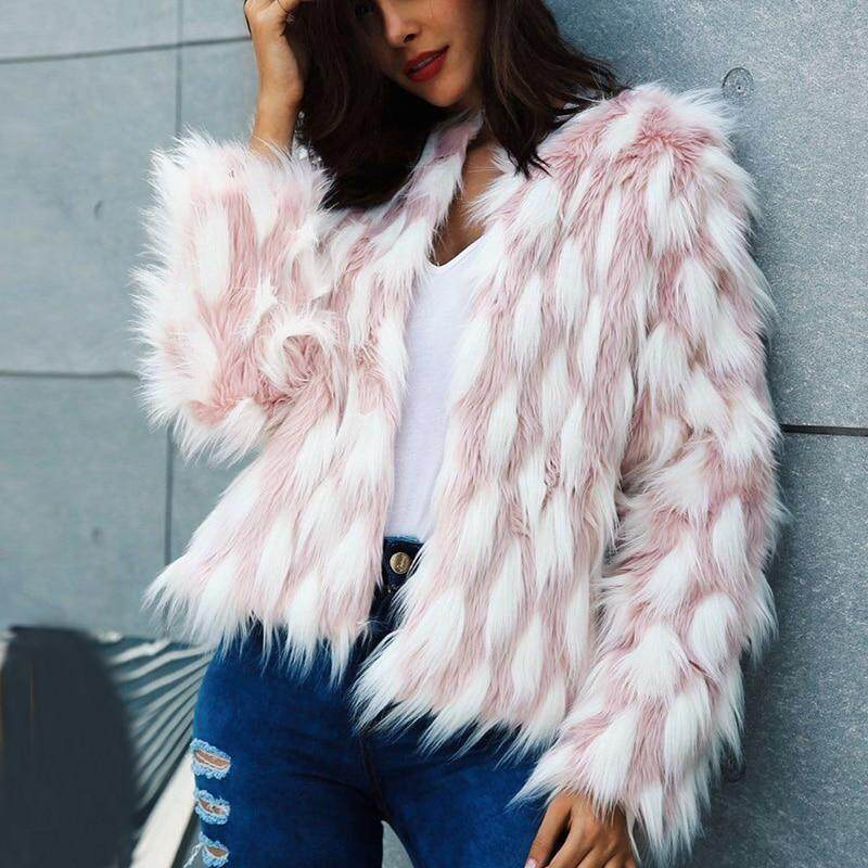 2d6eec23c9 Naiveroo Fluffy Warm Faux Fur Coat Women Fake Fur Short Winter Coat Female  Autumn Pink Party