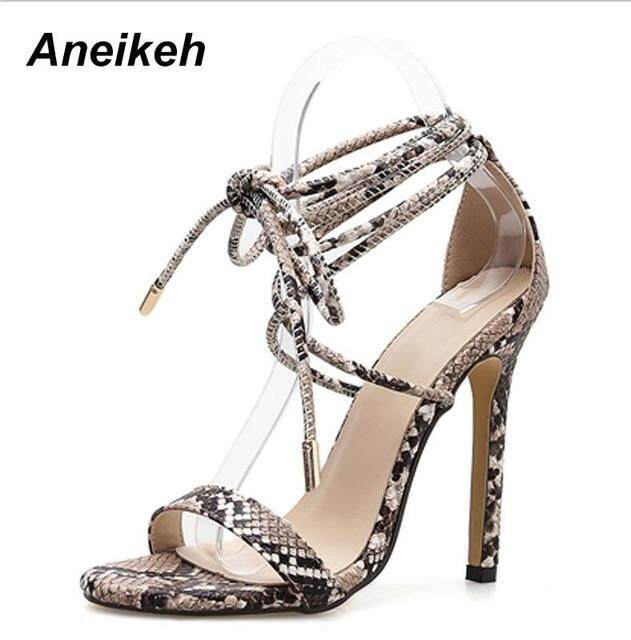 987f4de85ef Aneikeh Fashion 2019 Summer Women s Sandals PU Lace-Up Thin High Heels  Cover Heel Shallow