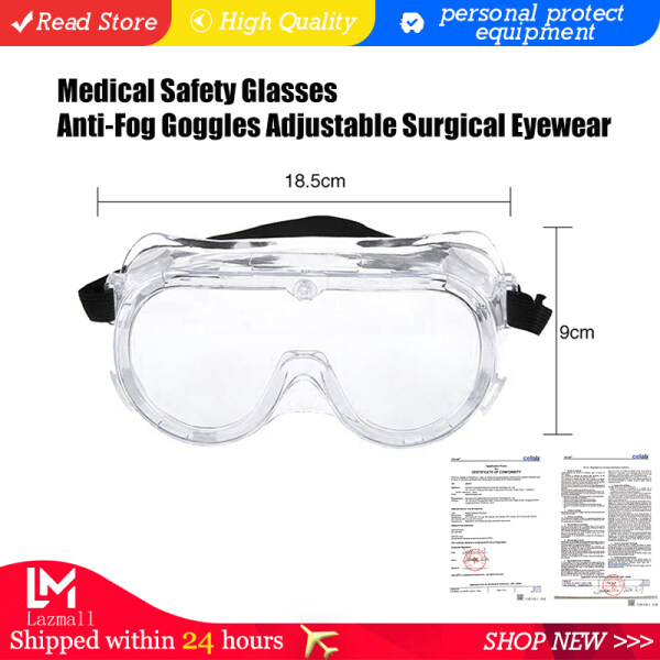 【Ready Stock】Medical Safety Glasses Anti-Fog Goggles Adjustable Surgical Eyewear Eye Protectors from Flying Particles Liquid Splatter Dust Wind Chemical Fumes Splash Unisex Eye Shield Spectacles
