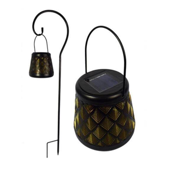 LED Wrought Iron Lantern Solar Light Hollow Hanging Lamp LED Night Solar Garden Light with Stand Garden Decor