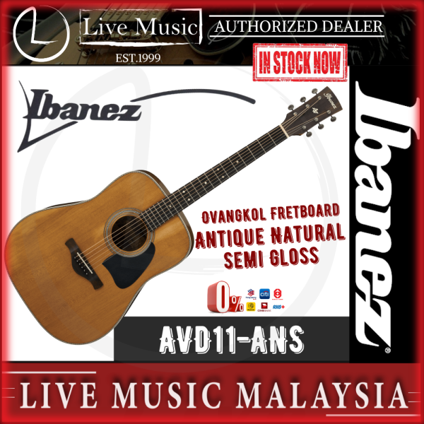 Ibanez AVD11 Artwood Vintage Dreadnought Acoustic Guitar - Antique Natural Semi-Gloss (AVD11-ANS) Malaysia
