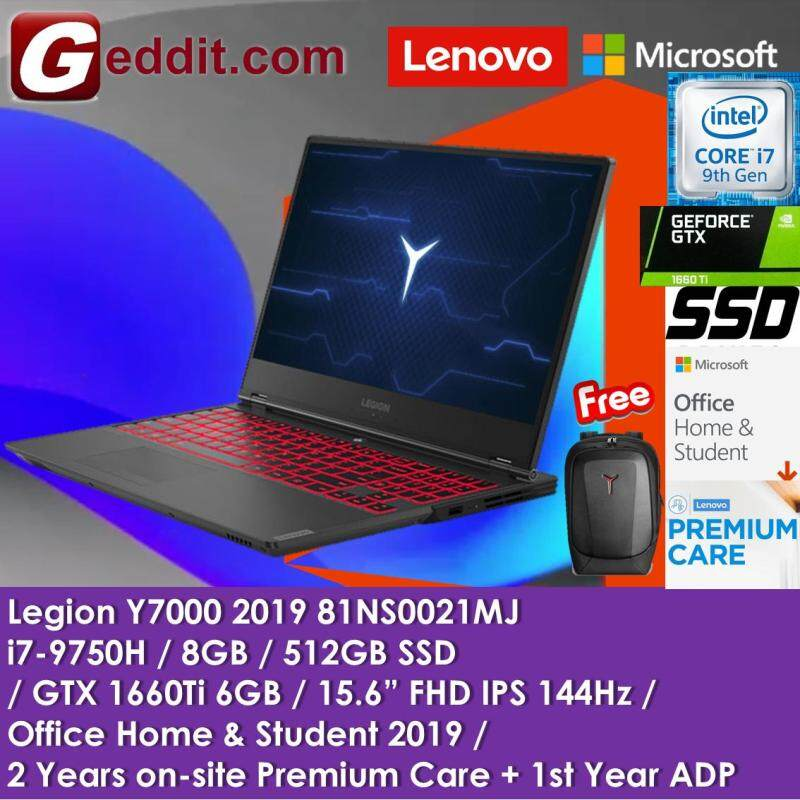 LENOVO GAMING LAPTOP LEGION Y7000 2019 81NS0021MJ ( i7-9750H,8GB,512GB SSD,GTX1660TI 6GB,15.6  FHD 144Hz,WIN10 PRE-INSTALLED OFFICE H&S 2019 ) FREE ARMORED BACKPACK Malaysia