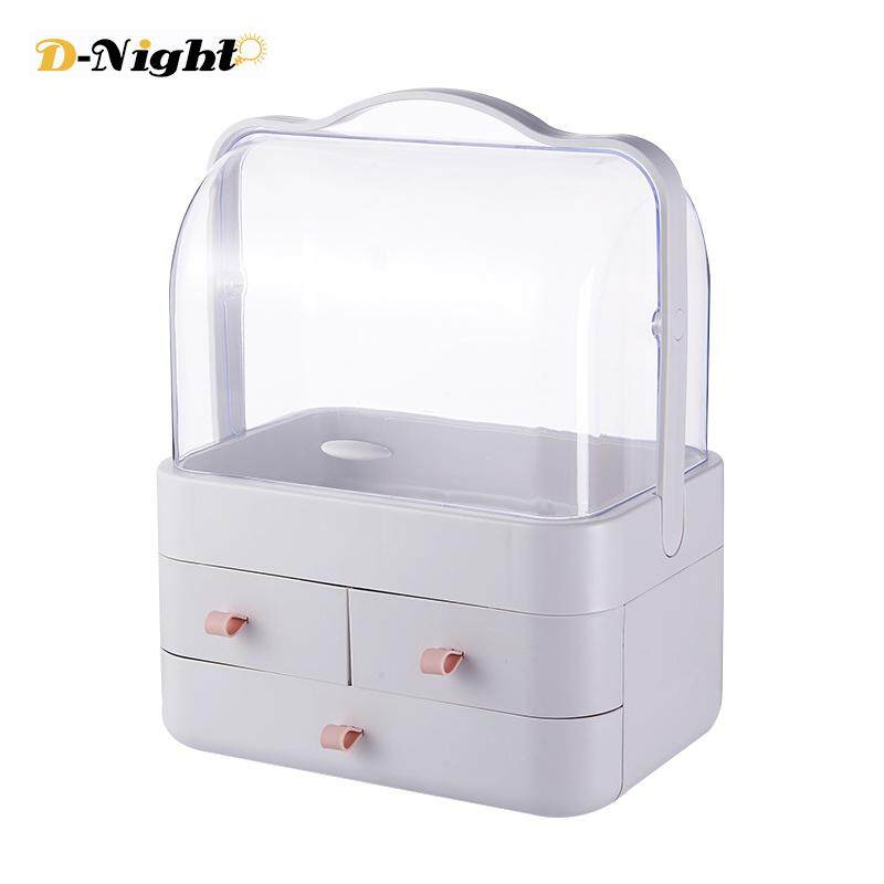 D-Night Dust-Proof Cosmetic Storage Box Acrylic Plastic Drawer Desk Organizer with Cover