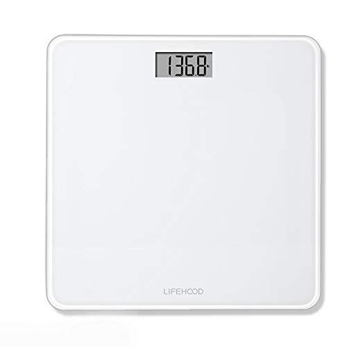 LIFEHOOD Digital Body Weight Scale - 4 High Precision Sensors Body Weight Scale with Step-On, Auto-Calibrated & Auto ON/Off Technology, Wide Sturdy Tempered Glass Bathroom Scale, Round Corner Safe Design
