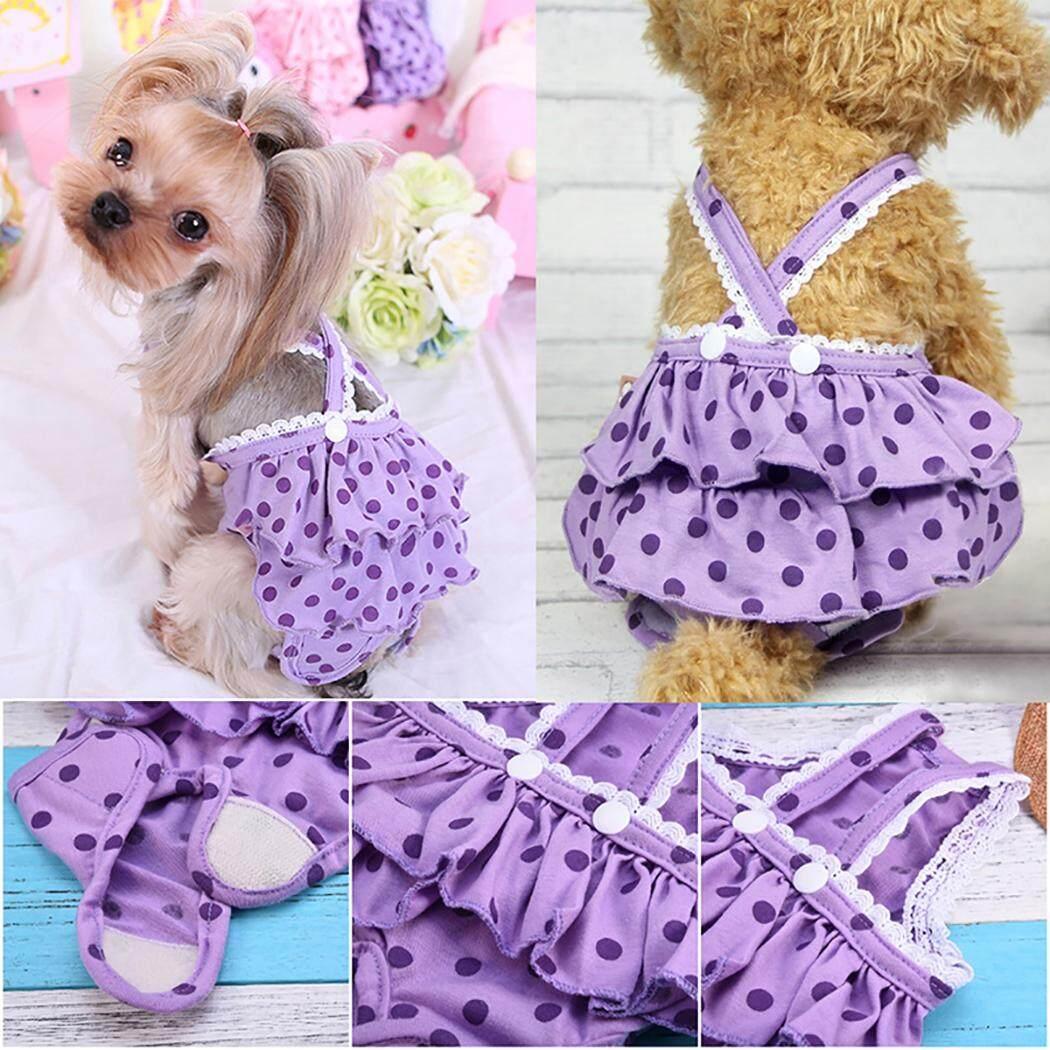 Chó Tã Có Thể Giặt Có Thể Tái Sử Dụng Vệ Sinh Pantie Đầm Chó Bông Tã với Suspender cho Nữ Chó, M - 2