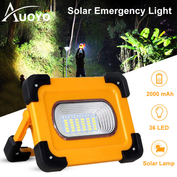 Auoyo Đèn LED Solar Light Emergency Lights LED Floodlight Spotlight 4 Modes Working Wall Lamp SOS Warning Light Outdoor Camping Light Rechargeable USB Mobile Power Portable Emergency Lamp Hiking Work Camping