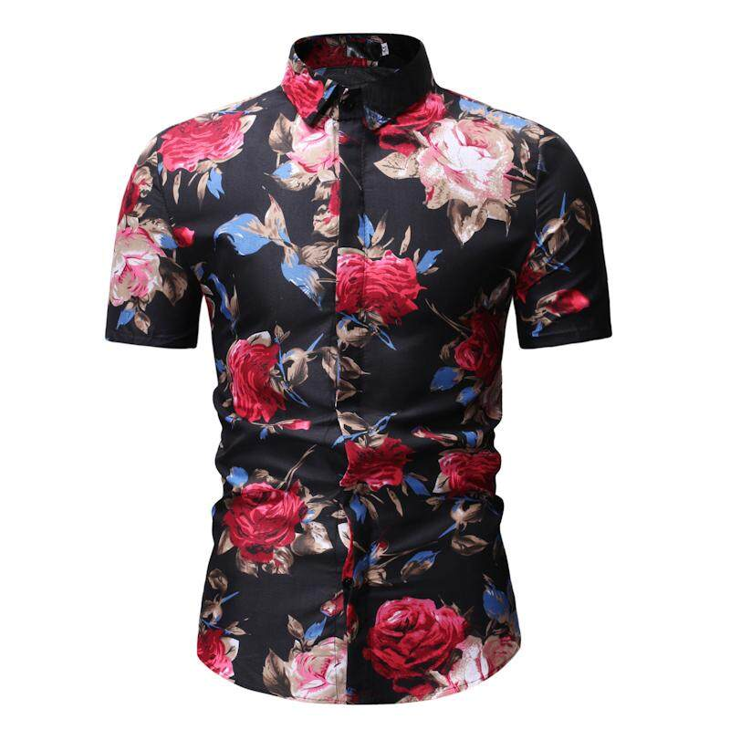 Floral Mens Shirts Short sleeve Flower Hawaiian Shirt Men Fashion Blouse  Man Black White a5d63fe42956