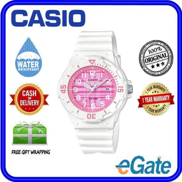 (2 YEARS WARRANTY) Casio LRW-200H-4C Kids & Ladies Analog Date Functioning White Resin Strap Pink Dial Original Casual Watch (LRW-200H) Malaysia
