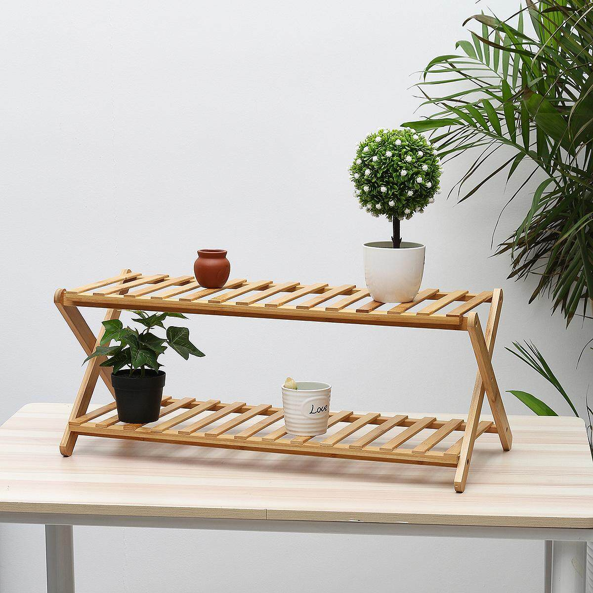 Mu Ma Ren 2 Tiers 68CM Length Floor flower shelf solid bamboo wood indoor multi-layer folding flower stand Renting/Decoration