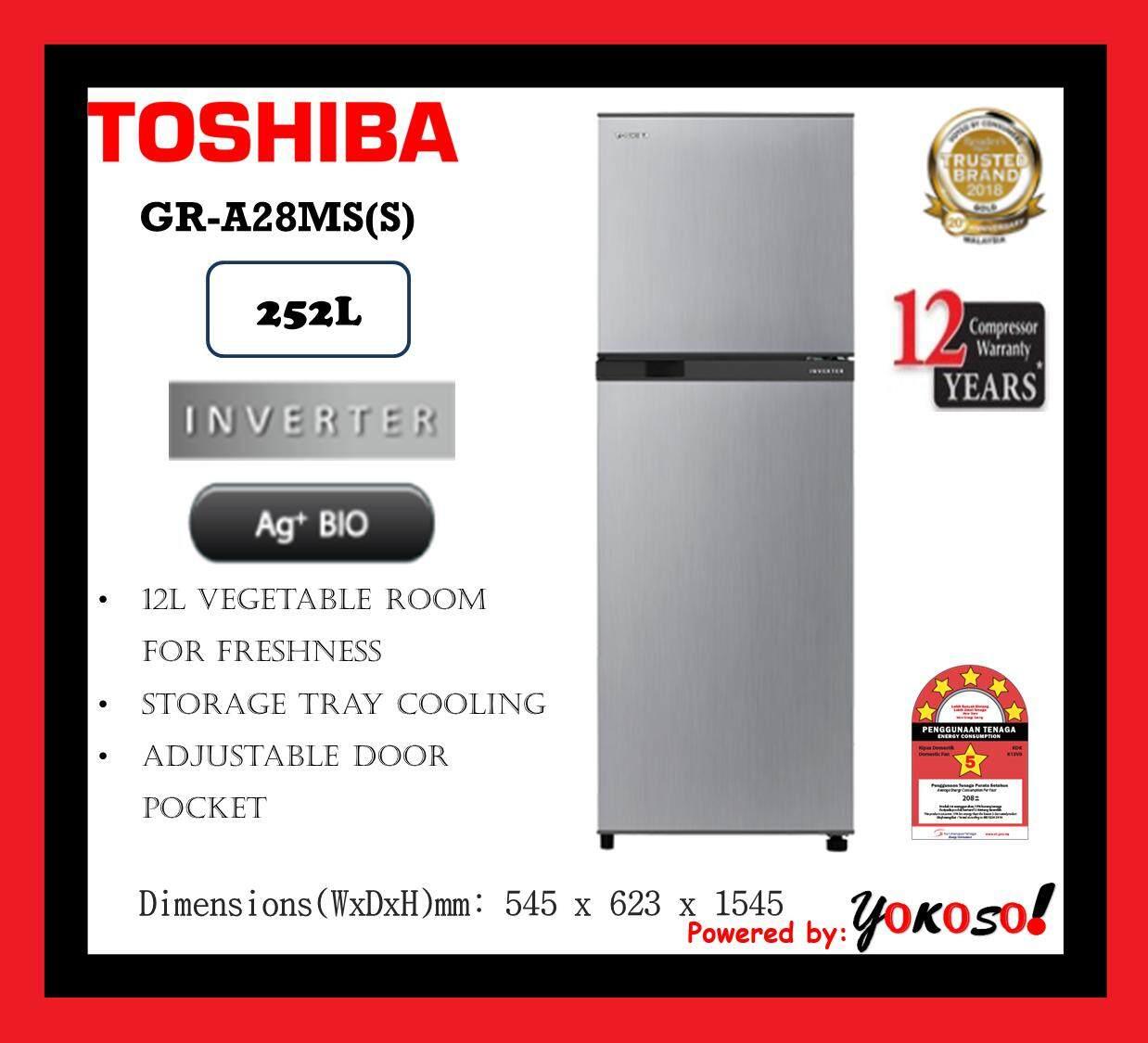 Toshiba GR-A28MS(S) 252L 2 Doors Inverter Fridge Refrigerator - Ag+ Bio Deodorizer (Silver)